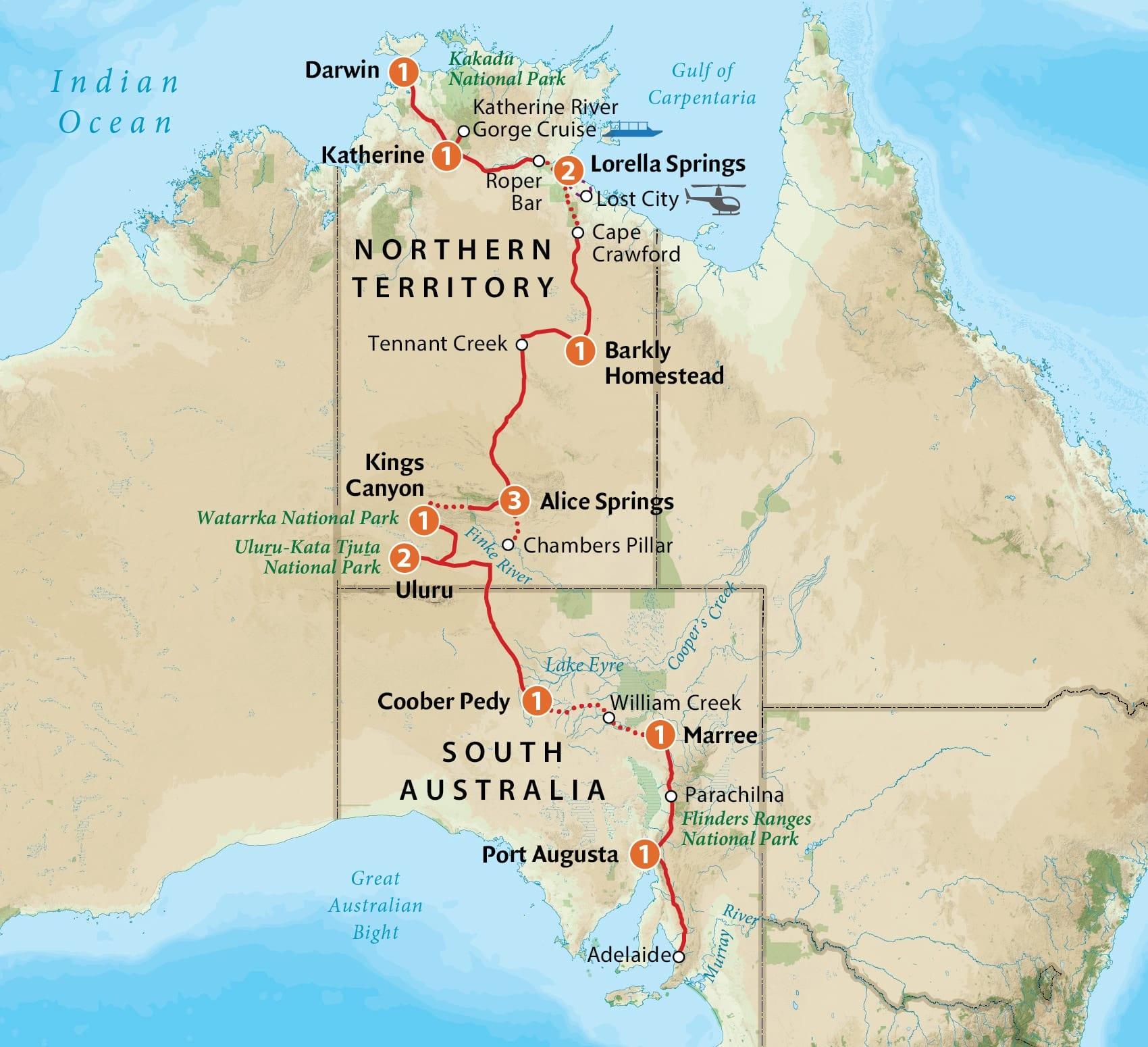 Australia Tour Map.Central Australia Tour 2019 Outback Spirit Tours