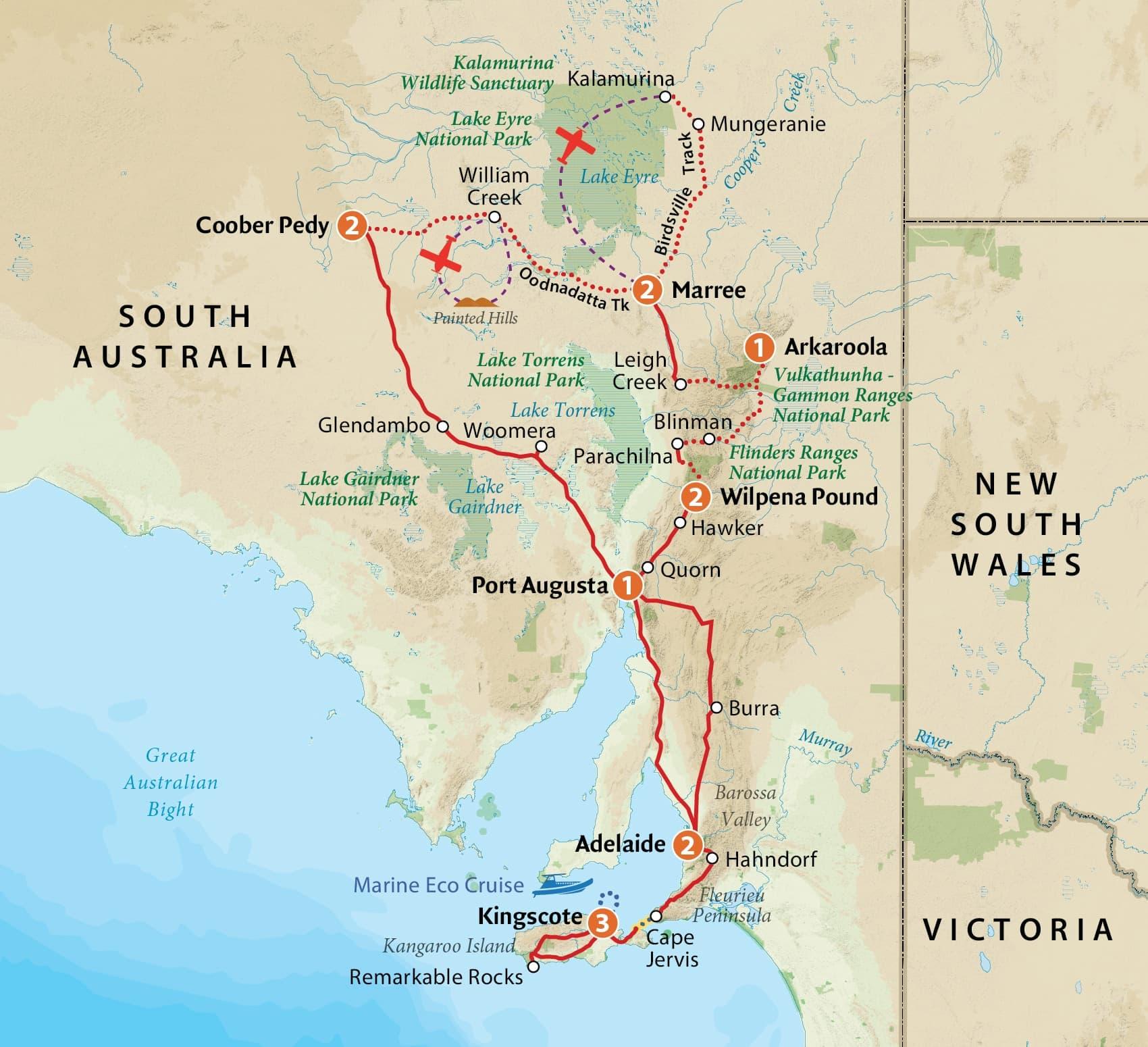 Map Of Australia Kangaroo Island.Outback South Australia Kangaroo Island Tour Outback Spirit Tours