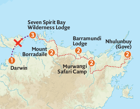 Map of the Arnhem Land Wilderness Adventure