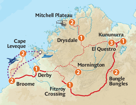 Map of the Kimberley & Top End Expedition