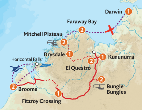 Map of the Jewels of the Kimberley & Faraway Bay