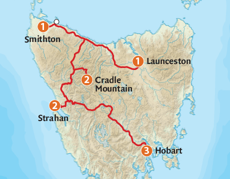 Map of the West Coast & Hobart Adventure