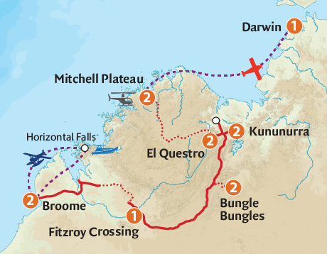 Map of the Jewels of the Kimberley