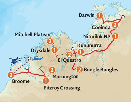 Map of the Exquisite Kimberley Adventure