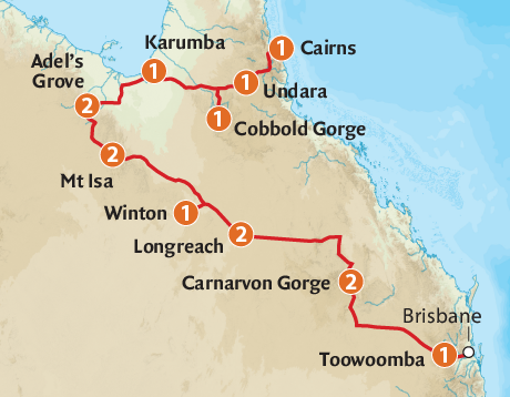 Map of the Longreach & Outback QLD Spectacular