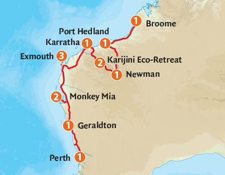 Map of the Pilbara & West Coast Expedition