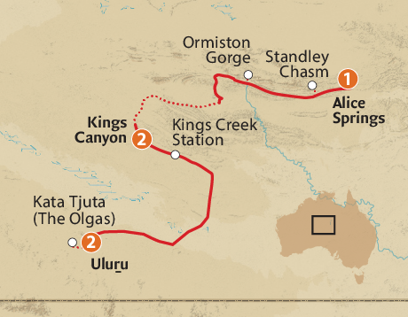 Map of the Red Centre & Field of Light Spectacular