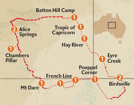 Map of the Simpson Desert Expedition