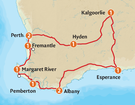 Map of the South Western Explorer