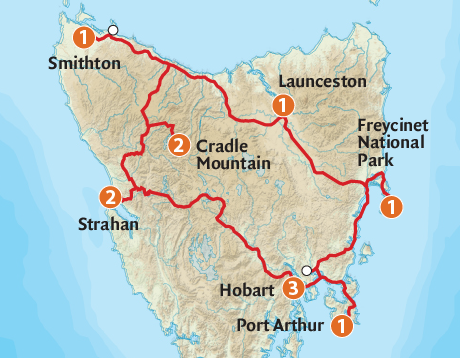 Map of the Tasmanian Wilderness Explorer