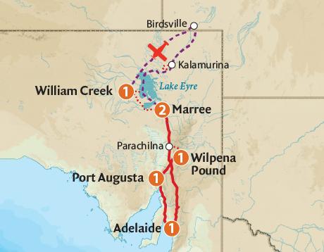 Map of the Kati Thanda–Lake Eyre & Wilpena Pound