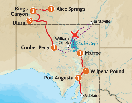 Map of the Lake Eyre, Red Centre & Field of Light Extravaganza